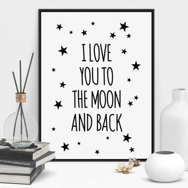 Print poster z okvirjem I LOVE YOU,30X21cm
